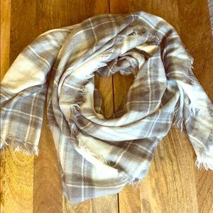 Grey and White Plaid Oversized Nordstrom's Scarf